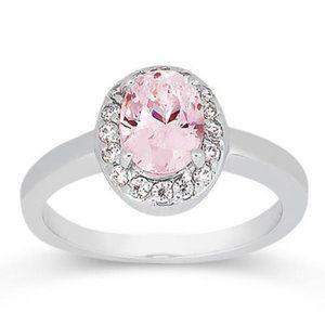 2.26 cts. Halo pink oval diamond anniversary WG ri